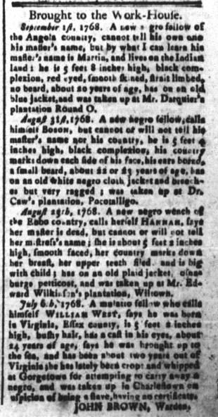 Sep 9 - South-Carolina and American General Gazette Slavery 1