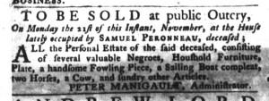 Nov 1 - South-Carolina Gazette and Country Journal Slavery 2