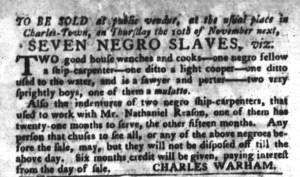 Nov 1 - South-Carolina Gazette and Country Journal Slavery 8