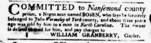 Nov 10 - Virginia Gazette Purdie and Dixon Slavery 8