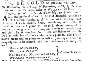 Nov 15 - South-Carolina Gazette and Country Journal Slavery 8