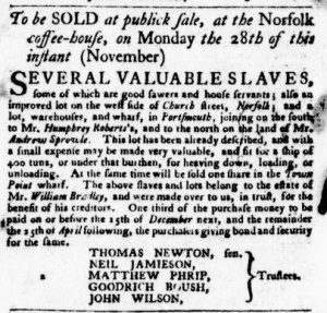 Nov 17 - Virginia Gazette Purdie and Dixon Slavery 2