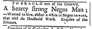 Nov 21 - Boston Evening-Post Slavery 1