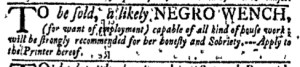 Nov 21 - New-York Gazette Weekly Mercury Slavery 2