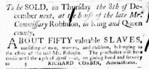 Nov 3 - Virginia Gazette Purdie and Dixon Slavery 1