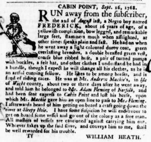 Nov 3 - Virginia Gazette Purdie and Dixon Slavery 12