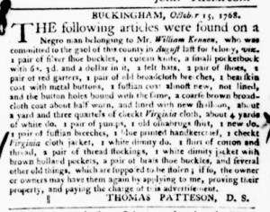 Nov 3 - Virginia Gazette Purdie and Dixon Slavery 8