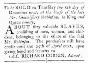 Nov 3 - Virginia Gazette Rind Slavery 1