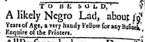 Nov 7 - Boston Evening-Post Slavery 1