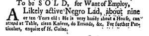 Oct 10 - New-York Gazette Weekly Mercury Slavery 1