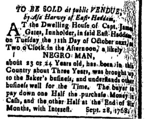 Oct 21 - New-London Gazette Slavery 1