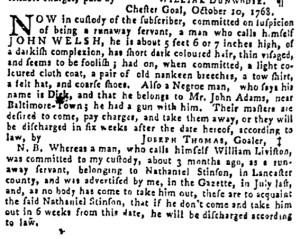 Oct 27 - Pennsylvania Gazette Supplement Slavery 1