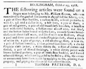 Oct 27 - Virginia Gazette Purdie and Dixon Slavery 1