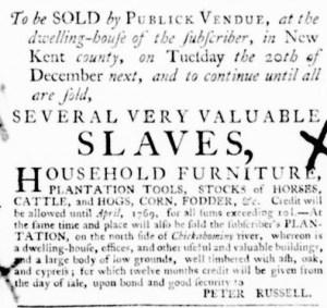 Oct 27 - Virginia Gazette Purdie and Dixon Supplement Slavery 4