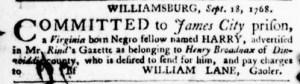 Oct 27 - Virginia Gazette Purdie and Dixon Supplement Slavery 5