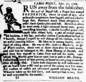 Oct 27 - Virginia Gazette Purdie and Dixon Supplement Slavery 6