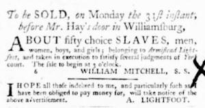 Oct 27 - Virginia Gazette Purdie and Dixon Supplement Slavery 7