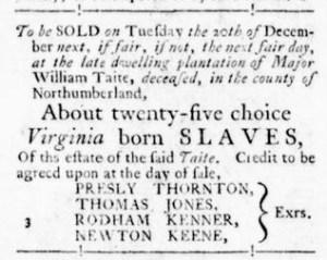Oct 27 - Virginia Gazette Rind Slavery 1