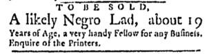 Oct 31 - Boston Evening-Post Slavery 1