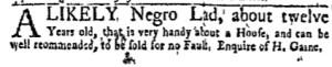 Oct 31 - New-York Gazette Weekly Mercury Supplement Slavery 1