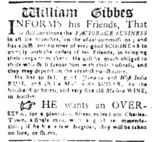 Oct 31 - South-Carolina Gazette Slavery 1