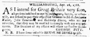 Oct 6 - Virginia Gazette Purdie and Dixon Slavery 1
