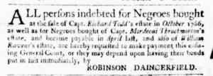 Oct 6 - Virginia Gazette Purdie and Dixon Slavery 2