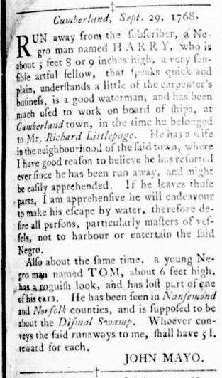 Oct 6 - Virginia Gazette Rind Slavery 2