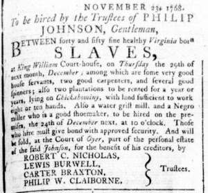 Dec 1 - Virginia Gazette Rind Slavery 4