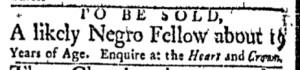 Dec 5 - Boston Evening-Post Slavery 1