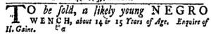 Dec 5 - New-York Gazette Weekly Mercury Slavery 2