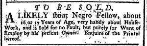 Nov 28 - New-York Gazette Weekly Post-Boy Slavery 1