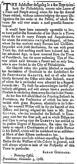 Nov 5 - 11:5:1768 Providence Gazette