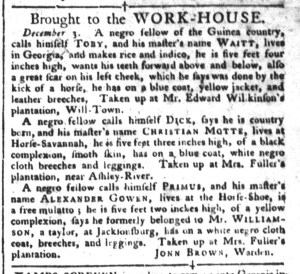 Dec 6 - South-Carolina Gazette and Country Journal Slavery 3