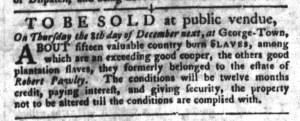 Dec 6 - South-Carolina Gazette and Country Journal Slavery 5