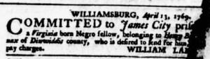 May 11 - Virginia Gazette Purdie and Dixon Supplement Supplement Slavery 2