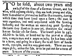 May 15 - New-York Gazette Weekly Mercury Slavery 4