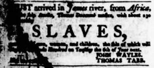 May 18 - Virginia Gazette Purdie and Dixon Slavery 1