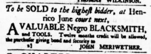 May 18 - Virginia Gazette Purdie and Dixon Slavery 4