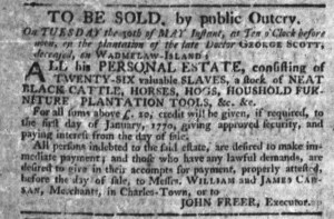 May 25 - South-Carolina Gazette Postscript Slavery 1