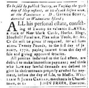 May 8 - South-Carolina and American General Gazette Slavery 1