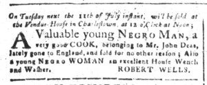 Jul 4 - South-Carolina and American General Gazette Slavery 1