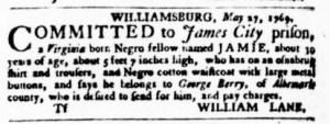 Jul 6 - Virginia Gazette Purdie and Dixon Slavery 4