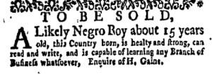 Jun 12 - New-York Gazette Weekly Mercury Supplement Slavery 1