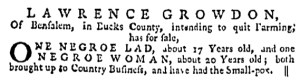 Jun 8 - Pennsylvania Gazette Supplement Slavery 1