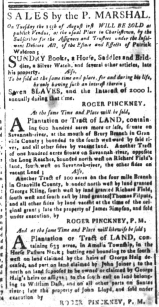 Aug 14 - South-Carolina and American General Gazette Slavery 2