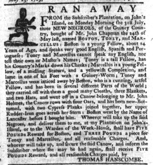 Aug 17 - South-Carolina Gazette Slavery 2