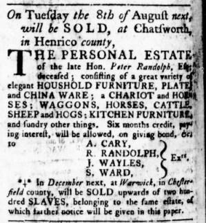 Jul 13 - Virginia Gazette Rind Slavery 1