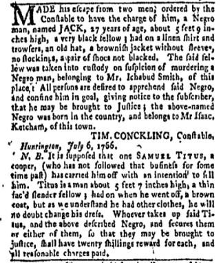 Jul 31 - New-York Gazette Weekly Mercury Slavery 2