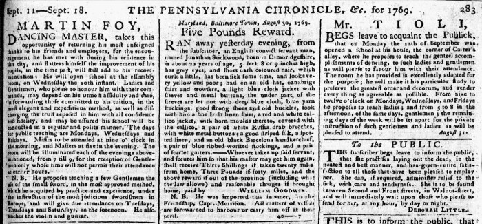 Sep 18 - 9:18:1769 Pennsylvania Chronicle
